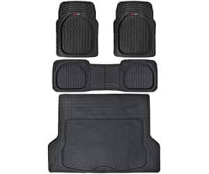 Motor Trend 4pc Black Car Floor Mats Set Rubber Tortoise Liners w/Large Cargo Trunk Liner Review