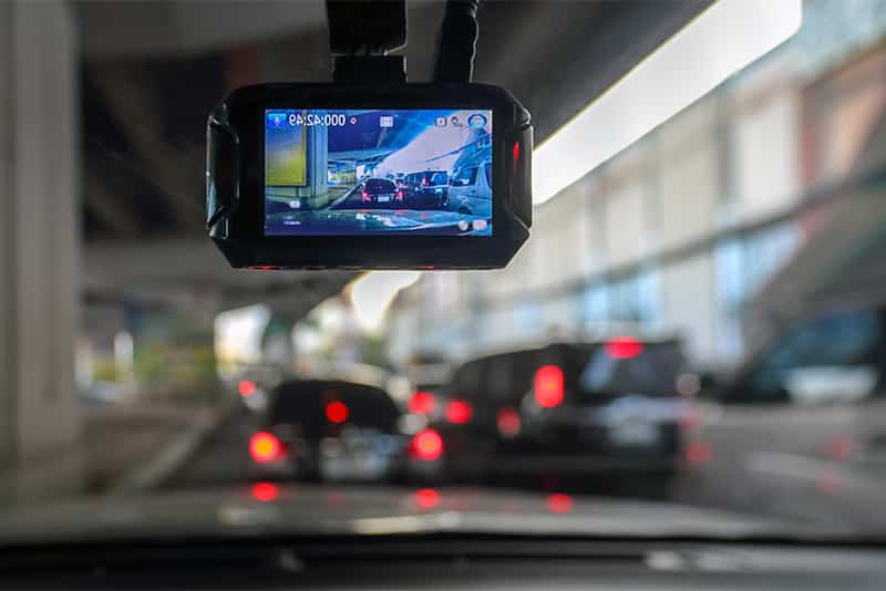 Dash camera display replaces the rear view mirror