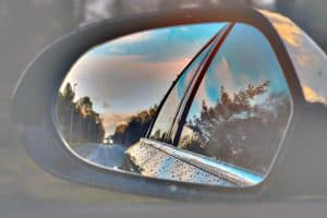 Looking out from rear view mirror