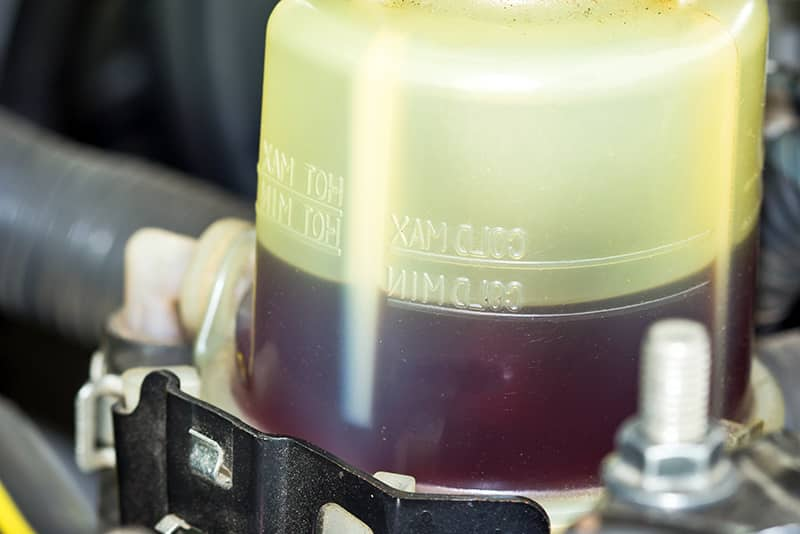 Transmission fluid is usually colored red.