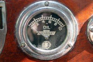 high oil pressure gauge closeup