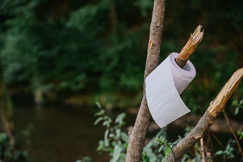Toilet paper roll hanging on tree.