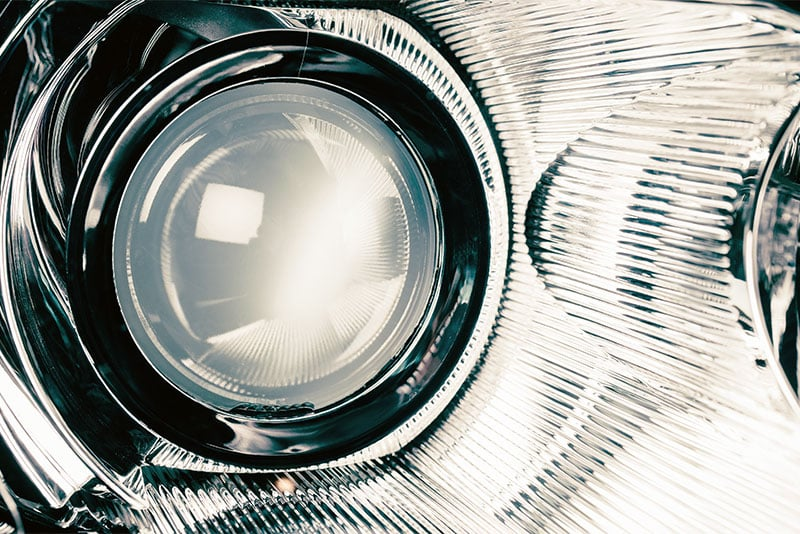 Close up of a xenon headlight bulb