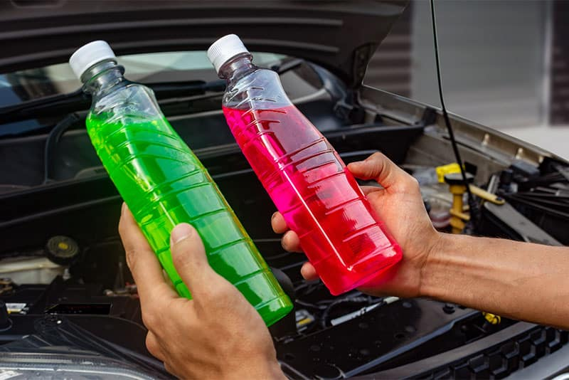 Comparing the different colors of engine coolant