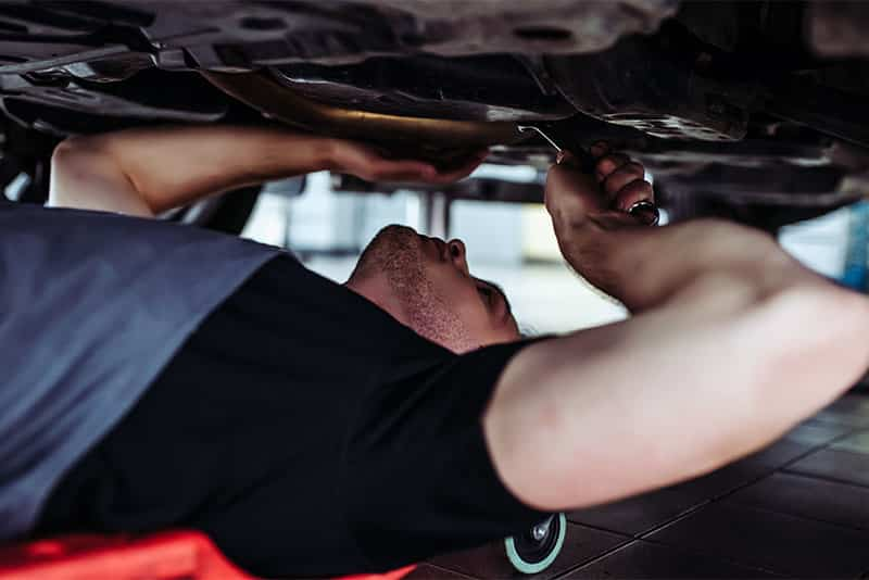 Working underneath a car is much more comfortable with a mechanic creeper